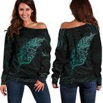 Light Silver Fern Off Shoulder Sweater - Turquoise K5 - 1st New Zealand