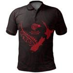 New Zealand Heart Polo Shirt - Map Kiwi mix Silver Fern Red K4 - 1st New Zealand