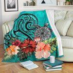 Turtle Polynesian Premium Blanket Hibiscus Polynesian Turquoise TH5 - 1st New Zealand