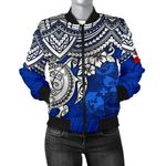 Tonga Polynesian Bomber Jacket (Women) - Blue Turtle