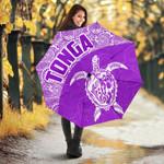 Tonga Umbrella Turtle Coat of Arms Polynesian Pattern White Violet