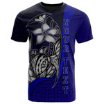 American Samoa Polynesian Custom Personalised T-Shirt Blue - Turtle with Hook - BN11