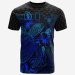 Niue Polynesian T-Shirt - Turtle Hibiscus Blue - Bn39