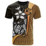 Tonga Polynesian T-Shirt Gold - Turtle With Hook - Bn11