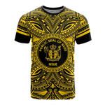 Niue All T-Shirt - Niue Coat Of Arms Polynesian Gold Black Bn10