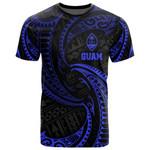 Guam Polynesian All Over T-Shirt - Blue Tribal Wave - BN12