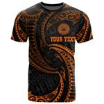 American Samoa Polynesian Custom Personalised T-Shirt - Orange Tribal Wave - BN12