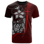 Fiji Polynesian T-Shirt Red - Turtle with Hook - BN11