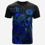American Samoa Polynesian T-Shirt - Turtle Hibiscus Blue - BN39