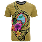 Guam Polynesian T-Shirt - Floral With Seal Gold - BN12