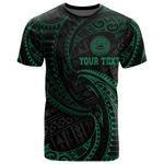 American Samoa Polynesian Custom Personalised T-Shirt - Green Tribal Wave - BN12