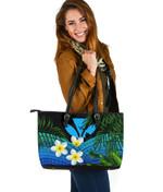 Kanaka Maoli (Hawaiian) Leather Tote Bag, Polynesian Plumeria Banana Leaves Blue | Love The World