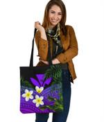 Kanaka Maoli (Hawaiian) Tote Bag, Polynesian Plumeria Banana Leaves Purple | Love The World