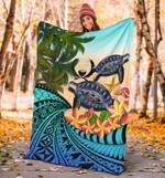 Pohnpei Premium Blanket - Polynesian Turtle Coconut Tree And Plumeria | Love The World