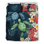 Ohio Bedding Set - Sea Turtle Tropical Hibiscus And Plumeria   Love The World