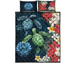 Tahiti Quilt Bed Set - Sea Turtle Tropical Hibiscus And Plumeria | Love The World