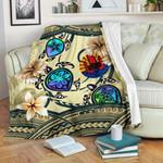 Tahiti Premium Blanket - Polynesian Turtle Plumeria Beige A24