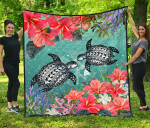 Kanaka Maoli (Hawaiian) Premium Quilt - Polynesian Turtle Hibiscus And Seaweed | Love The World