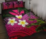 Kanaka Maoli (Hawaiian) Quilt Bed Set, Polynesian Plumeria Banana Leaves Pink | Love The World