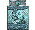 American Samoa Quilt Bed Set - Polynesian Turtle Plumeria Blue | Love The World