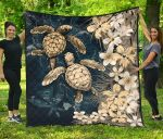 Kanaka Maoli (Hawaiian) Premium Quilt - Sea Turtle Tropical Hibiscus And Plumeria Gold| Love The World