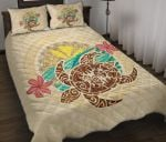 Kanaka Maoli (Hawaii) Quilt Bed Set - Turtle Polynesian Flower Tattoo Beige A10