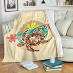 Kanaka Maoli (Hawaii) Premium Blanket - Turtle Polynesian Flower Tattoo Beige A10