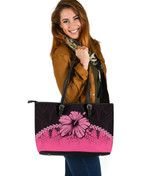 Polynesian Leather Tote Bag Hibiscus Pink   Love The World