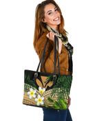 Kanaka Maoli (Hawaiian) Small Leather Tote Bag, Polynesian Plumeria Banana Leaves Gold | Love The World