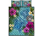 American Samoa Quilt Bed Set - Polynesian Turtle Hibiscus And Plumeria | Love The World