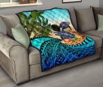 Palau Premium Quilt - Polynesian Turtle Coconut Tree And Plumeria   Love The World
