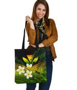 Kanaka Maoli (Hawaiian) Tote Bag, Polynesian Plumeria Banana Leaves Reggae