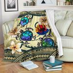 Tahiti Premium Blanket - Polynesian Turtle Plumeria Blue A24