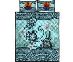 Tahiti Quilt Bed Set - Polynesian Turtle Plumeria Blue A24