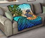 Cook Islands Premium Quilt - Polynesian Turtle Coconut Tree And Plumeria | Love The World