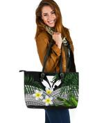 Kanaka Maoli (Hawaiian) Leather Tote Bag, Polynesian Plumeria Banana Leaves Gray | Love The World
