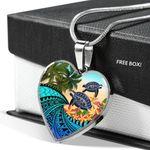 Hawaii Heart Shaped Necklace - Polynesian Turtle Coconut tree And Plumeria | Love The World