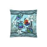 Tahiti Pillow Cases - Polynesian Turtle Plumeria Blue A24
