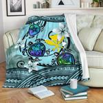 Kanaka Maoli (Hawaiian) Premium Blanket - Polynesian Turtle Plumeria Blue A24