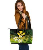 Kanaka Maoli (Hawaiian) Leather Tote Bag, Polynesian Plumeria Banana Leaves Yellow   Love The World