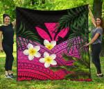 Kanaka Maoli (Hawaiian) Premium Quilt, Polynesian Plumeria Banana Leaves Pink | Love The World