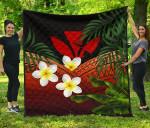 Kanaka Maoli (Hawaiian) Premium Quilt, Polynesian Plumeria Banana Leaves Red | Love The World