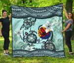 Tahiti Premium Quilt - Polynesian Turtle Plumeria Blue A24