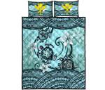 Kanaka Maoli (Hawaiian) Quilt Bed Set - Polynesian Turtle Plumeria Blue | Love The World