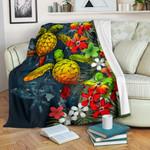 Kanaka Maoli (Hawaiian) Premium Blanket - Sea Turtle Tropical Hibiscus And Plumeria Reggae  Love The World