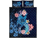 Kanaka Maoli (Hawaiian) Quilt Bed set - Blue Turtle Hibiscus   Love The World