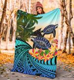 Tokelau Premium Blanket - Polynesian Turtle Coconut Tree And Plumeria | Love The World
