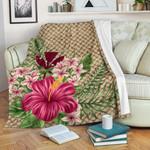 Kanaka Maoli (Hawaiian) Premium Blanket - Lauhala Hibiscus And Plumeria | Love The World