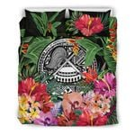 American Samoa Bedding Set - Coat Of Arms Tropical Flowers And Banana Leaves | Love The World