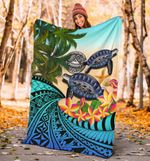 American Samoa Premium Blanket - Polynesian Turtle Coconut Tree And Plumeria | Love The World
